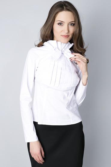 4138edaae6a Белая блуза с жабо и бантом Р68  продажа