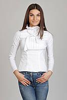 Белая женская блуза с жабо и бантом Р68