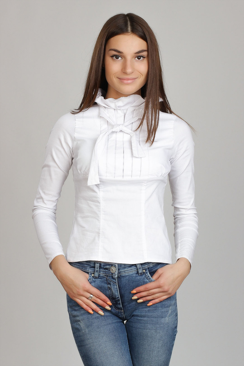8d1a381611a Белая блуза с жабо и бантом Р68 - 2 Льва ® в Киеве