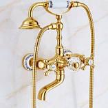 Смеситель кран с лейкой золото для ванной комнаты, фото 2