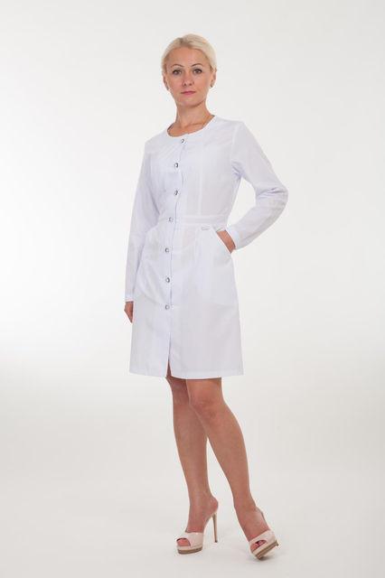 Классический женский медицинский халат на пуговицах с длинным рукавом. Размер 40-52
