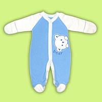 Комбинезон  для малыша новорожденного человечек для мальчика девочки с начесом голубой
