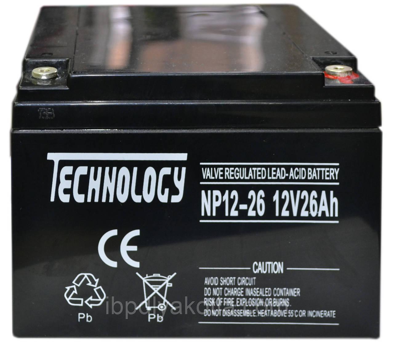 Аккумулятор мультигелевый TECHNOLOGY NP12-26Ah 12V 26AH, (AGM) для ИБП