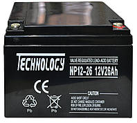 Аккумулятор мультигелевый TECHNOLOGY NP12-26Ah 12V 26AH, (AGM) для ИБП, фото 1