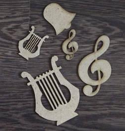 Декоративные элементы, высечка, чипборд, надписи и буквы
