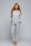Женская светло-серая пижама в цветочек. Ткань - футер. Dres Jessica Sensis