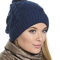 Женская вязаная шапка - носок , объемной крупной вязки косами.