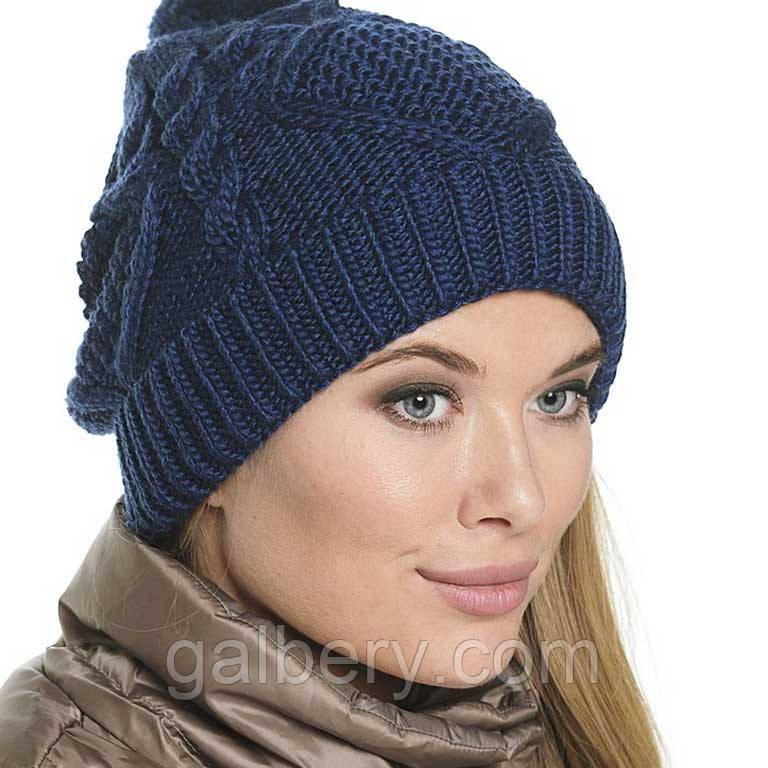 женская вязаная шапка носок объемной крупной вязки косами цена