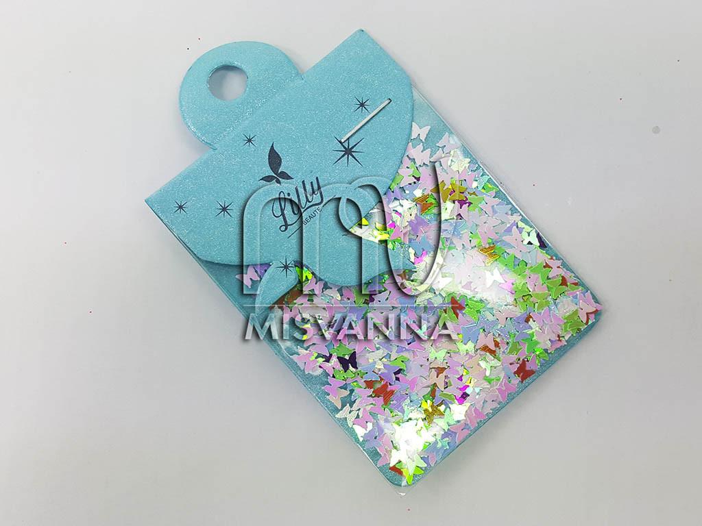 Конфетти Lilly Beaute для маникюра хамелеон розовые бабочки