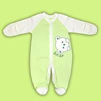 Комбинезон  для малыша новорожденного человечек для мальчика девочки с начесом салатовый