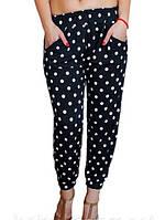 Легкие летние женские брюки свободного кроя с манжетом. Микс цветов, норма. Только оптом.