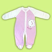 Комбинезон  для малыша новорожденного человечек для мальчика девочки с начесом розовый