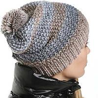 Женская вязаная шапка - носок , объемной крупной вязки спицами.