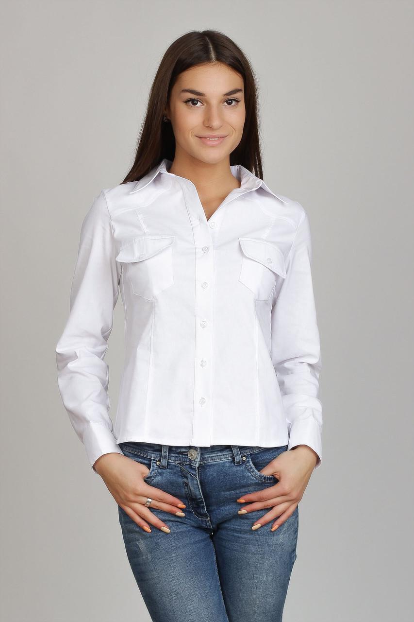 Белая женская рубашка с карманами Р73