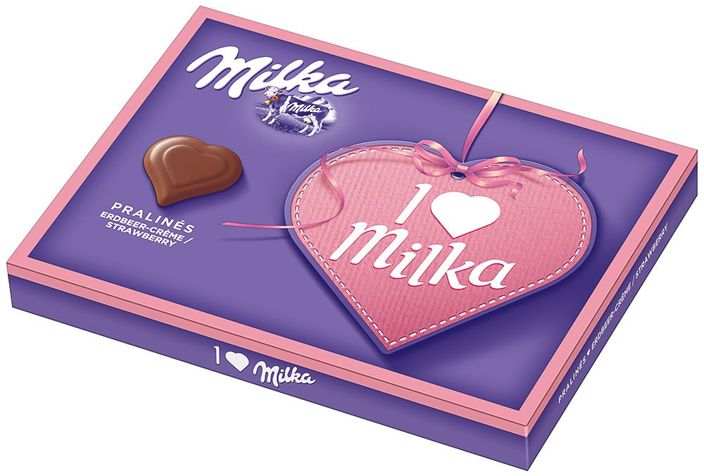 Шоколадные конфеты в коробке Milka I Love с клубничным пралине, 110 гр