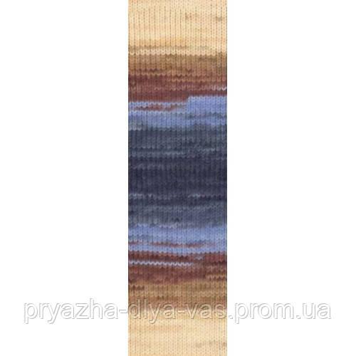 Полушерстяная пряжа (100г/240м, 49%-шерсть, 51%-акрил) Alize Lanagold Batik 3017