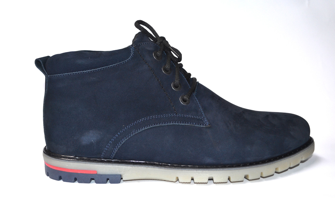 Большой размер Замшевые зимние мужские ботинки натуральные, на меху Rosso Avangard Bonmarito Vel Blu синие, фото 1