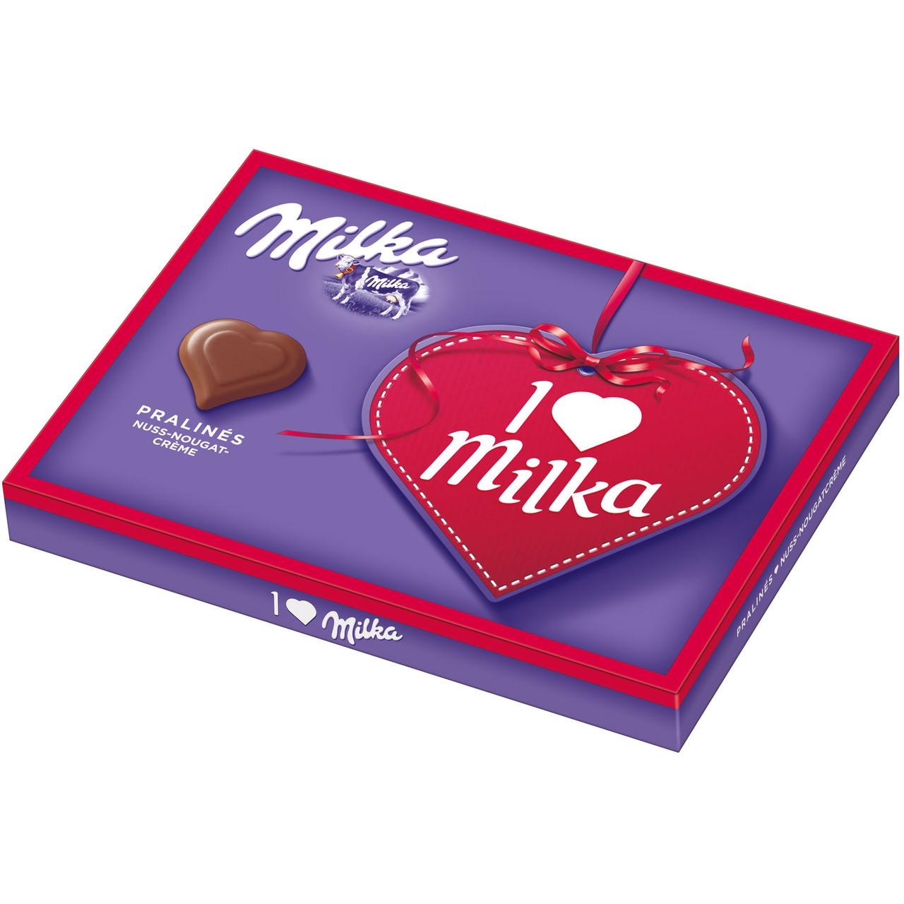 Шоколадные конфеты в коробке Milka I Love с ореховым пралине, 110 гр