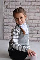 Обманка (свитер-блузка)  Many&Many на девочку, цвет серый
