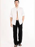 Мужской пляжный льняной костюм. Льные брюки и рубаха Украина. Укринские размеры, любой рост и размер  бирюзовый, свыше 54 размера уточняйтестоимость отдельно