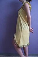 """Женская ночная рубашка """"Анжелика"""" (желтая с леопардовой отделкой)"""