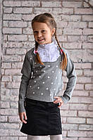 Обманка (свитер-блузка)  Many&Many на девочку, цвет серый/горох