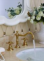 Смеситель кран двухвентильный золото для ванной комнаты, фото 1