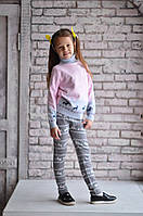 Лосины Many&Many для девочки серые с оленями., фото 1