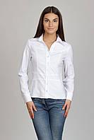 Белая рубашка с кокеткой из хлопка Р78