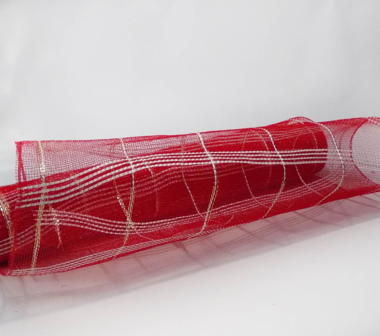 Сетка шотландка флористическая для упаковки красная