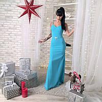 Платье женское вечернее на бретельках - Бирюзовый