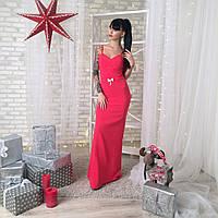 Платье женское вечернее на бретельках - Коралловый