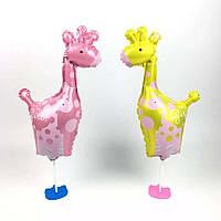 Воздушный шар жираф, розовый и желтый