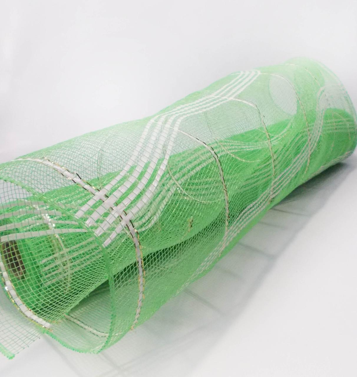 Сетка декоративная шотландка для упаковки зеленая