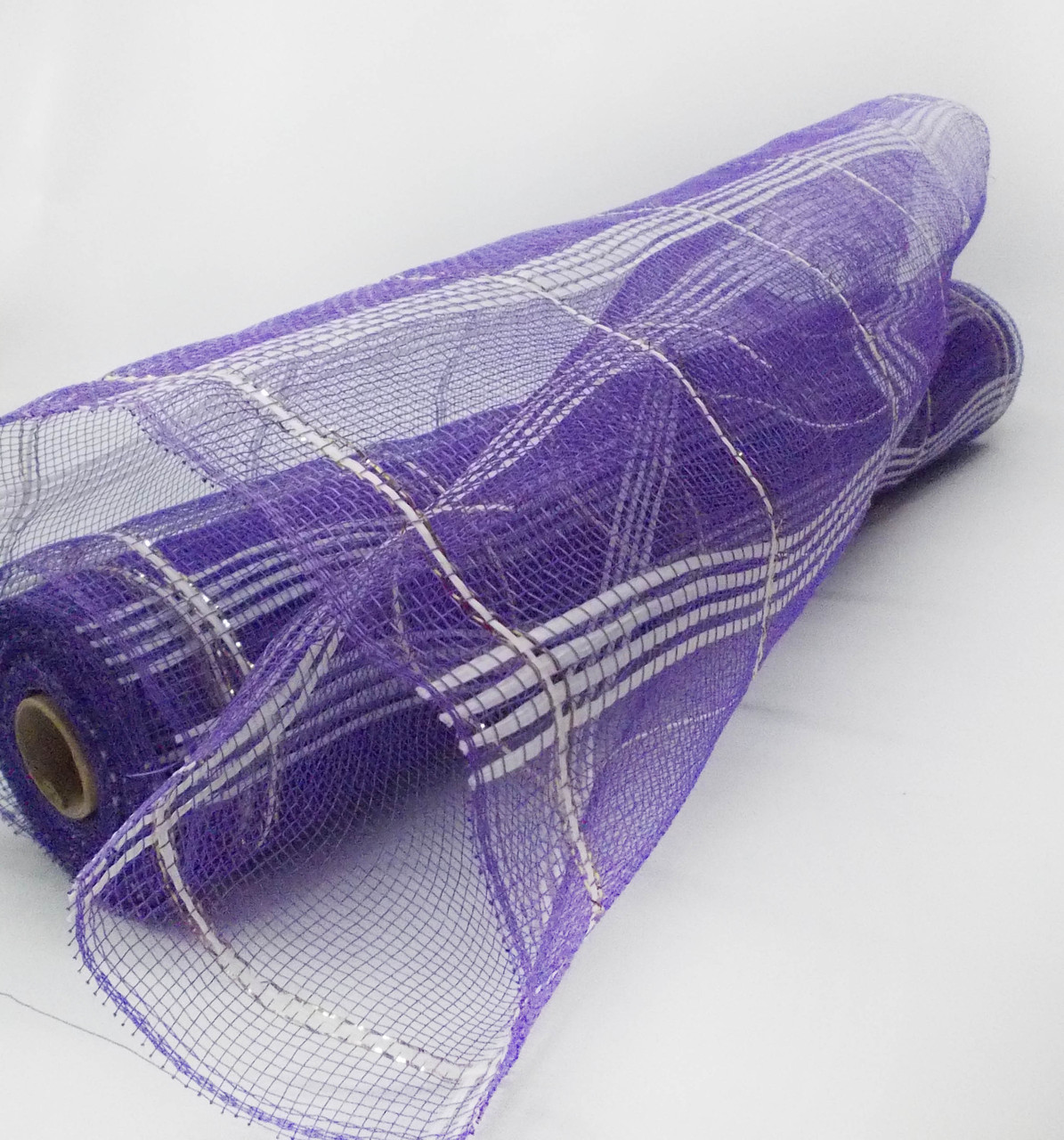 Сетка шотландка флористическая для упаковки фиолетовая