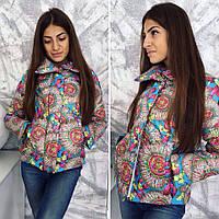 Куртка женская короткая с карманами воротник стойка