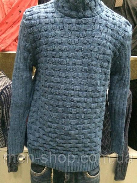 Мужской теплый свитер, синего и серого цвета