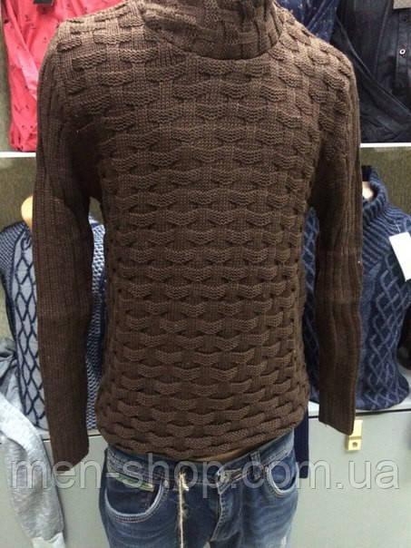 Мужской качественный свитер, коричневого цвета