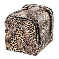 Кейс для косметики, тигровый принт, коричневый