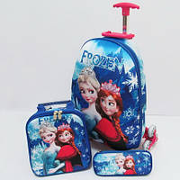 Набор детский чемодан на 6 колесах+сумка+пенал Ледяное сердце 025А-16