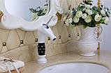 Смеситель кран белый однорычажный в ванную комнату для умывальника, фото 2