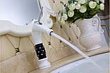 Смеситель кран белый однорычажный в ванную комнату для умывальника, фото 5