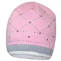 Вязаная шапка для девочки, украшенная стразами