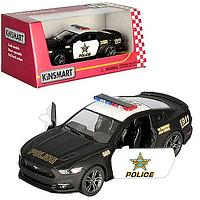 Машинка KT 5386 WP, Ford Mustang GT, Полиция, инерционная, металл, 12 см, колеса резина, открываются двери