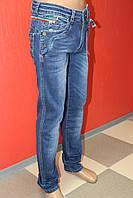 Стильные мужские джинсы DAVOS ( давос) с молнией, заужееные с потёртостями