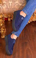 Модные криперы темно-синие 38 размер, криперы реплика без логотипов синие на черной подошве эко-замш