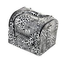Кейс для косметики, тигровый принт, серый