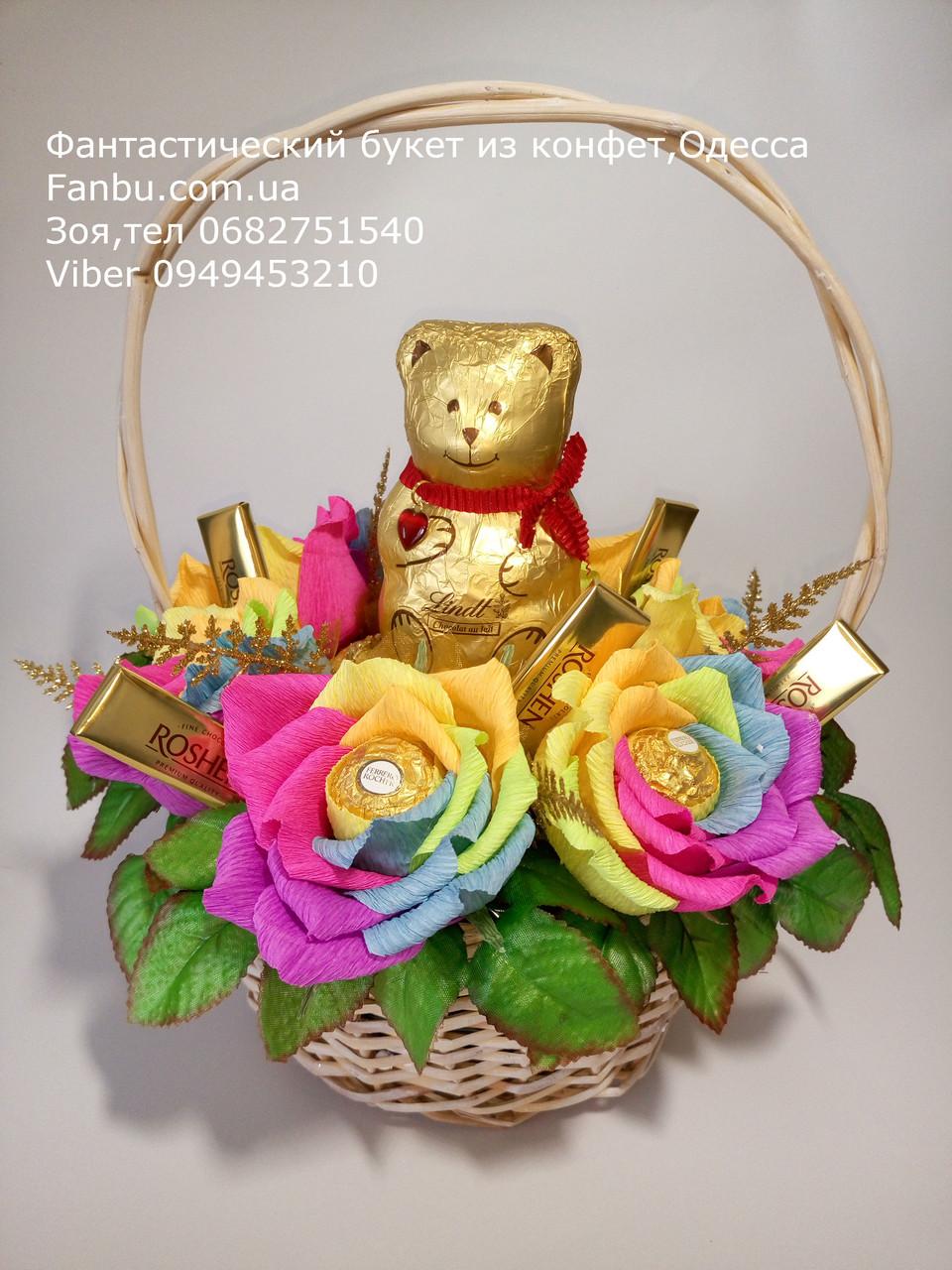 """Шоколадный мишка в букете роз из конфет """"Радужные розы""""№7, фото 1"""