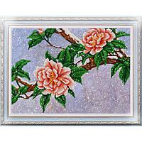Схема для вышивки бисером Цветы под снегом