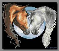 Схема для частичной вышивки бисером Пара лошадей